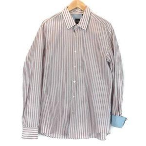 Boss Hugo Boss Red & Gray Stripes Button Up Shirt